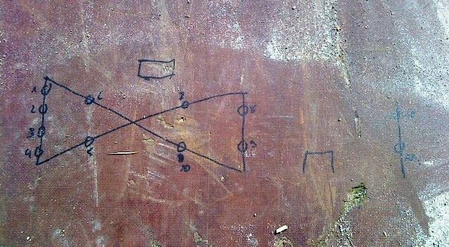 Stefans Lichtkonzept 2009 auf dem Boden seines Hängers