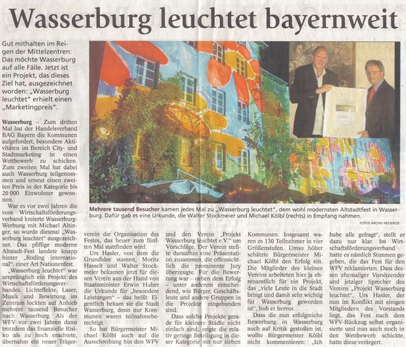 Wasserburg leuchtet bayernweit