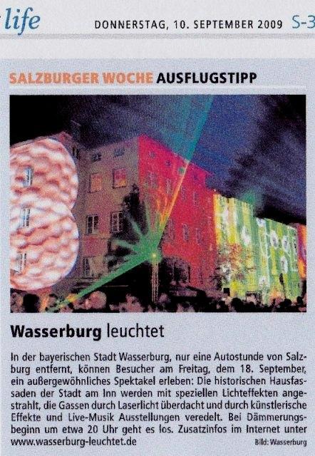 Wasserburg Leuchtet ist der Ausflugtipp der Salzburger Woche