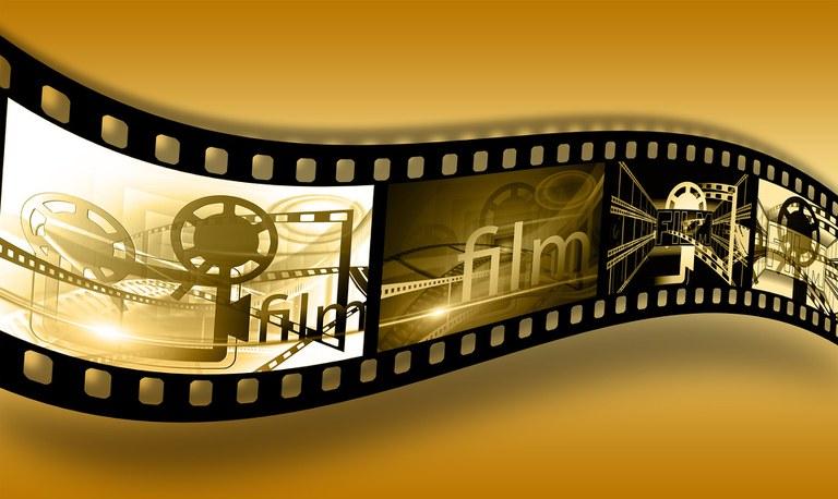 Videoleinwand mit Kurzfilmen